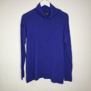 Eileen Fisher Blue Merino Wool Turtleneck Sweater